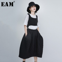 Cotton-Padded Dress New Black Spring Round-Neck Fit-Fashion Hollow-Out EAM Sleeveless
