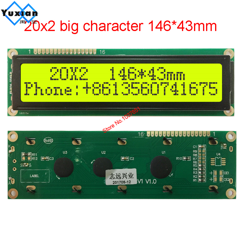 Big Large Size 2002 20X2 Character Lcd Display Module Screen 146*43mm Instead  WH2002M PC2002-L SBS02002C0 AXSC202C