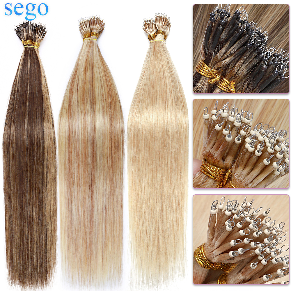 SEGO 1g/s 50 Strands Real Human Hair Nano Ring Hair Extensions Machine Remy Pre-Bonded Straight Micro Beads Nano Tip 16''-24''