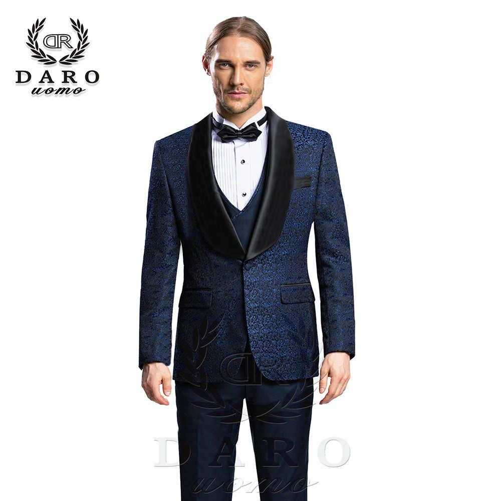 DARO 2019 New Men Suit 3 Pieces tuxedo Slim Fit blue grey  white for Wedding Dress  Suits Blazer Pant and Vest DR8859