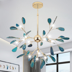 Image 1 - Moderno led luz do candelabro de jantar lâmpada pendurada ouro azul lustre em sala crianças cozinha foyer sala estar quarto decoração lâmpadas