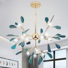 Plafonnier suspendu au design moderne, disponible en bleu or, luminaire décoratif dintérieur, idéal pour une salle à manger, une chambre denfant, une cuisine, un salon ou une chambre à coucher, modèle LED