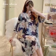 Women Sleepwear Nightgown Floral Printed Viscoes Summer Nightdress Sleeping Dress Female Plus Size Homewear Sleepshirt Pijama