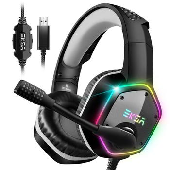 EKSA E1000 7.1 Surround Sound Gaming Headset With Microphone For PS4/Xbox-One/PC Gamer Stereo USB Wired Headphone RGB LED Light