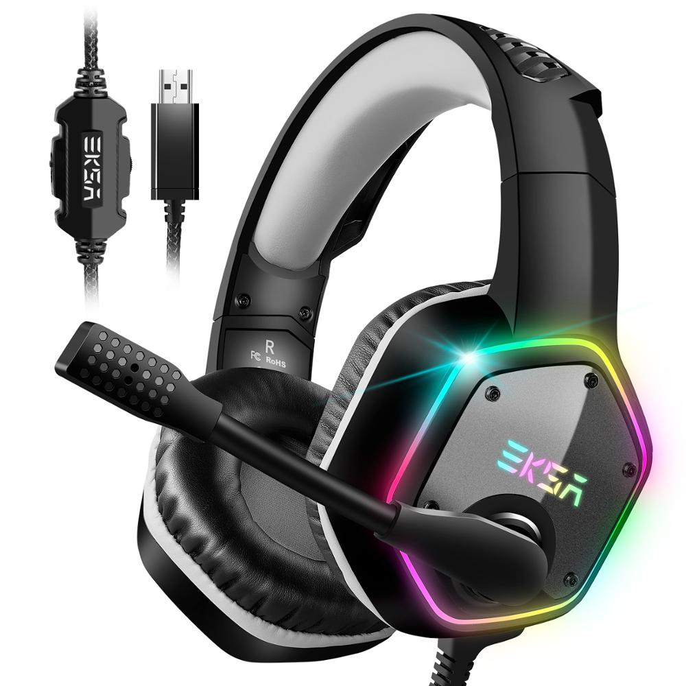 EKSA E1000 7.1 Surround son casque de jeu avec Microphone pour PS4/Xbox-One/PC Gamer stéréo USB filaire casque RGB lumière LED