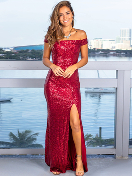 цена на Off-the-shoulder Long Evening Dress Sequins Prom Gown Side Split Mermaid Robe De Soriee Gold Formal Dress Red XUCTHHC New Party