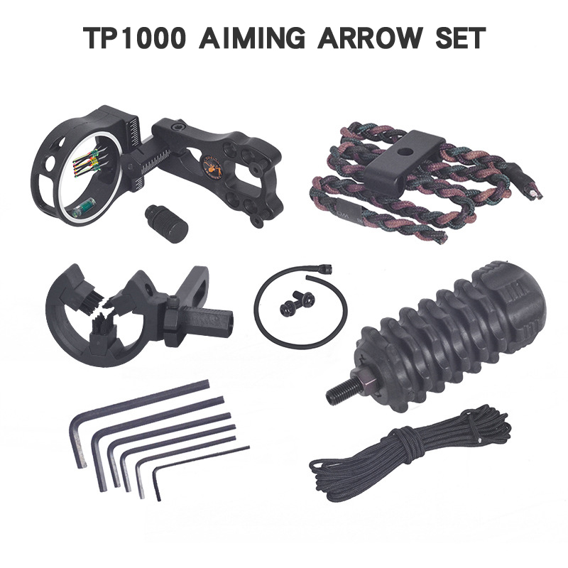 Hunting Kit 5 Pin Adjustable Optic Sight Aim Scope Compound/Recurve Bow Archery Brush Arrow Rest Shock Absorber Bow Accessories