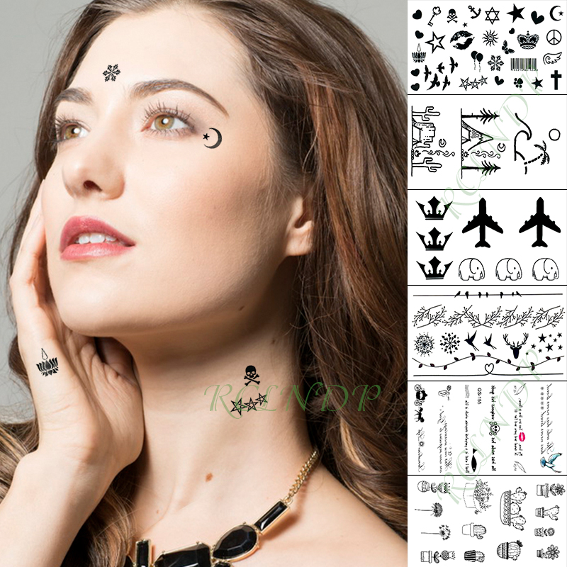 Waterproof Temporary Tattoo Sticker Airplane Star Heart Bird Skull Lip Letter Flash Tatoo Fake Tatto For Kid Girl Men Women