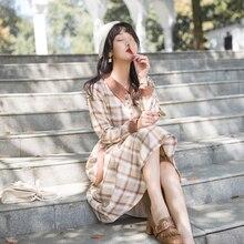 Новая мода Женская Одежда Осенние клетчатые Повседневные платья