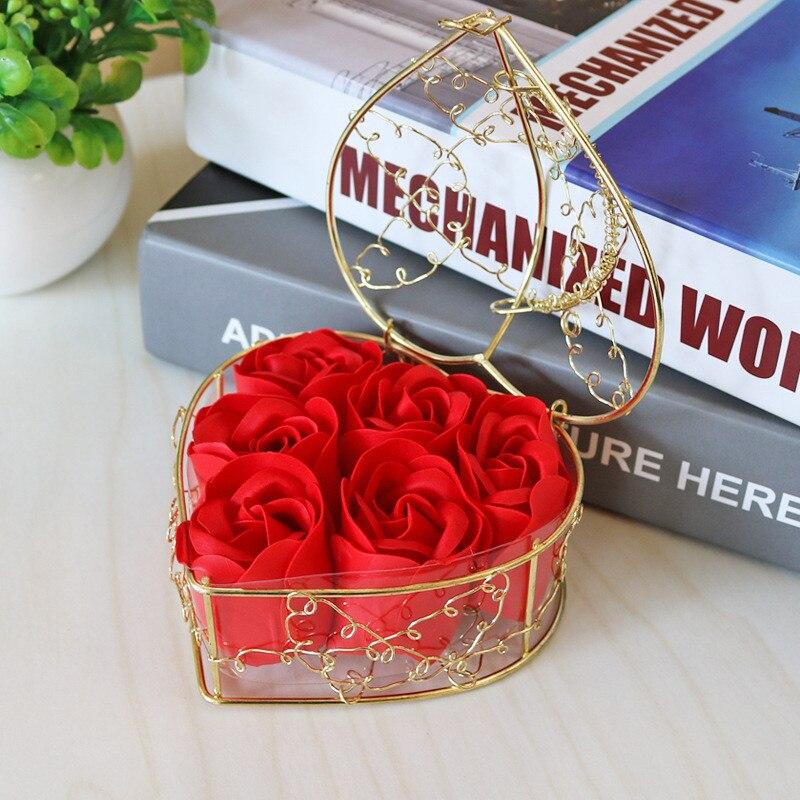 Rose Soap Flower Basket Heart Scented Bath Body Petal Rose Flower Soap Wedding Gift Case Wedding Decoration Valentines Day Gift