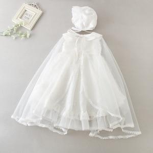 Conjunto de 3 uds. De vestido de bautismo infantil 2020 nuevo vestido de bebé niña 1 año de cumpleaños vestido para bautismo color marfil vestidos para niños 3-24M