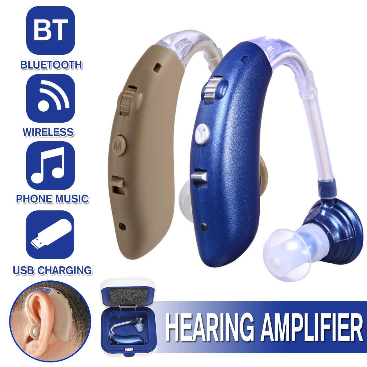 2020 Rechargeablels Baru Di Belakang Telinga USB Alat Bantu Dengar Nirkabel Bluetooth Rechargeable dengan Charger Mini Mendengarkan Perangkat