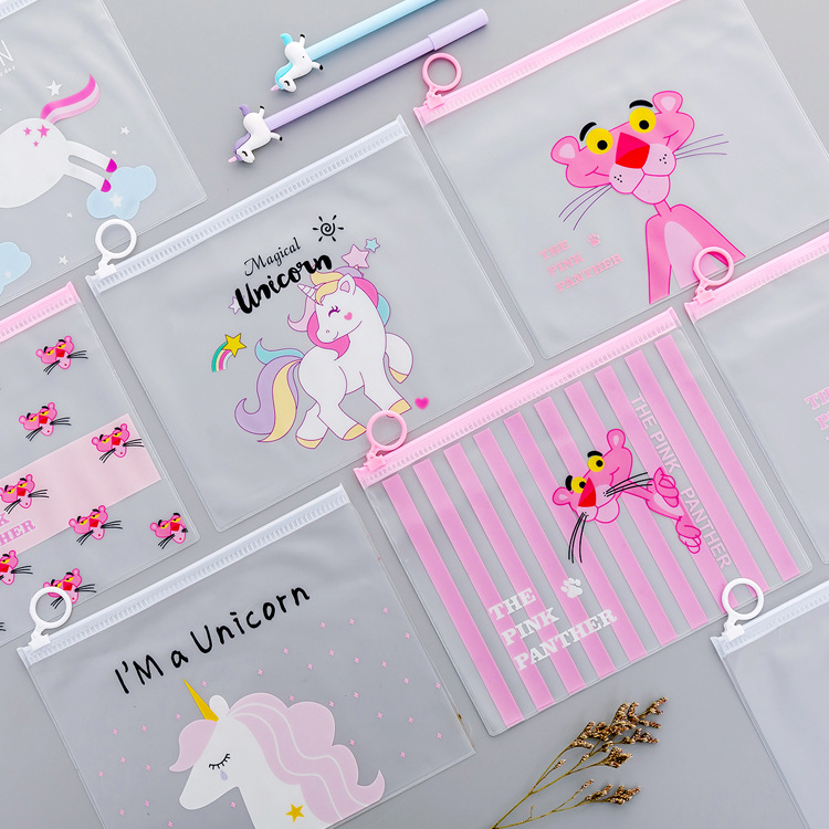 Japanese Novelty Cartoon Unicorn Pink Leopard Transparent PVC Document Bag File Folder Stationery