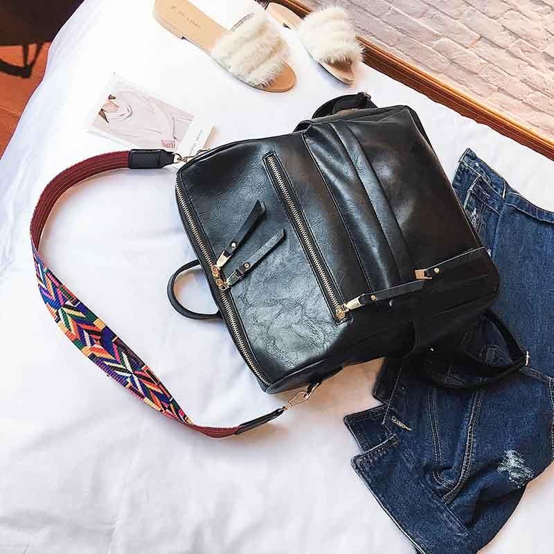 Leather Backpack Women 2019 Students School Bag Large Backpacks Multifunction Travel Bags Mochila Pink Vin0tage Back Pack