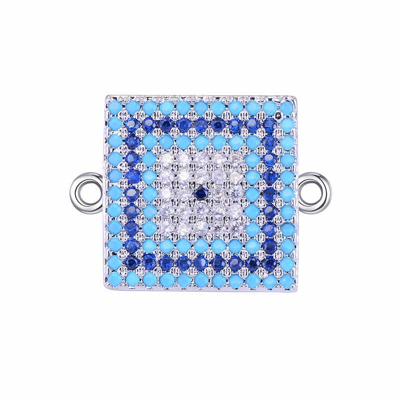 CHSXY carré Micro pavé CZ Zircon cuivre turquie mauvais oeil connecteur de breloque pour bracelet à bricoler soi-même collier chanceux Talisman cadeau fait main