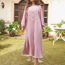 Muslim Ladies Dresses Spring Autumn The New Fashion Loose Simple Designer Thin Best Sellers Beading Round Neck Long Sleeve