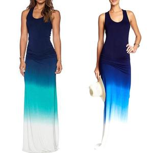 Plus Size Fashion Gradient Sleeveless Round Neck Summer Women Maxi Long Dress 2020 New Womens wear