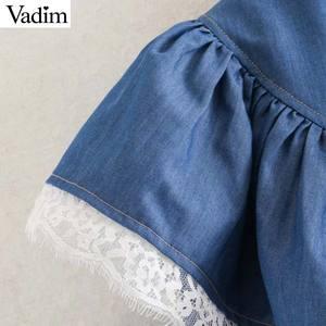 Image 3 - Vadim 女性甘いレースパッチワークブラウス長袖フリルかわいいシャツ女性のカジュアルなプリーツシックなトップス blusas LB726