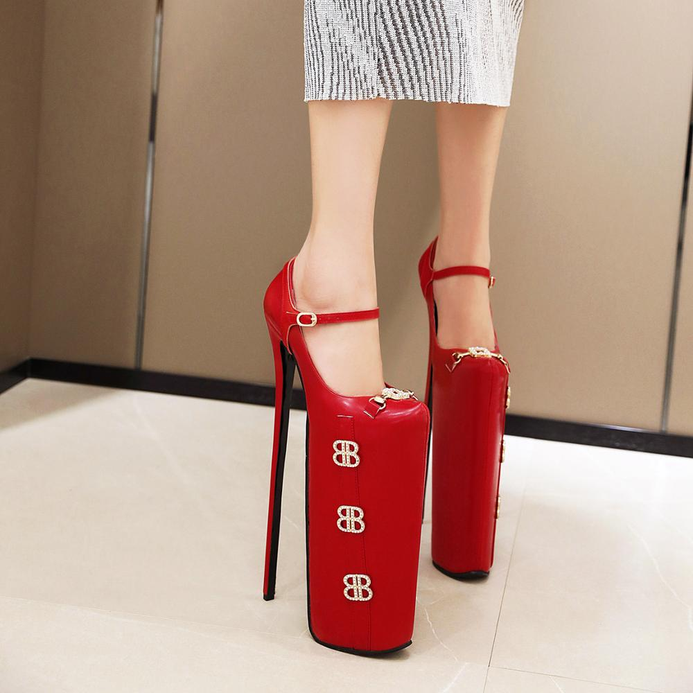 Spring New Fashion 30 Cm Super High Heels Sexy Water Diamond Banquet Exaggerated Buckle Women's Shoes