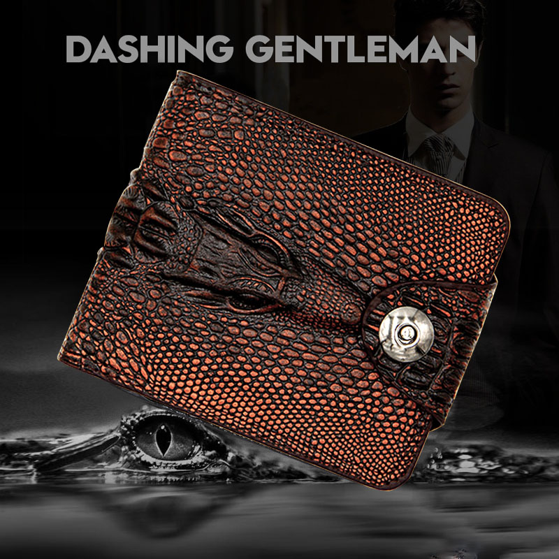 Alligato Wallet Men's Short Hasp Slim Purse 2019 Vintage Style Cartera Hombre Crocodile Leather Small Wallet Mens Genuine Leathe