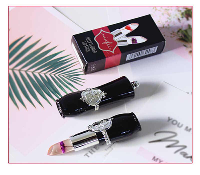 Tahan Air Tongkat Bibir Pelembab Tahan Lama Lipstik Transparan Jelly Bunga Makeup Suhu Berubah Warna Bibir Berwarna Merah Muda TSLM1