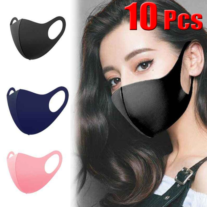 10 Pcs Black Face Mouth Mask Anti-Infection Virus Mouthmask For Unisex Anti-dust Mouth Facemask Breath Straps Reusable Washable