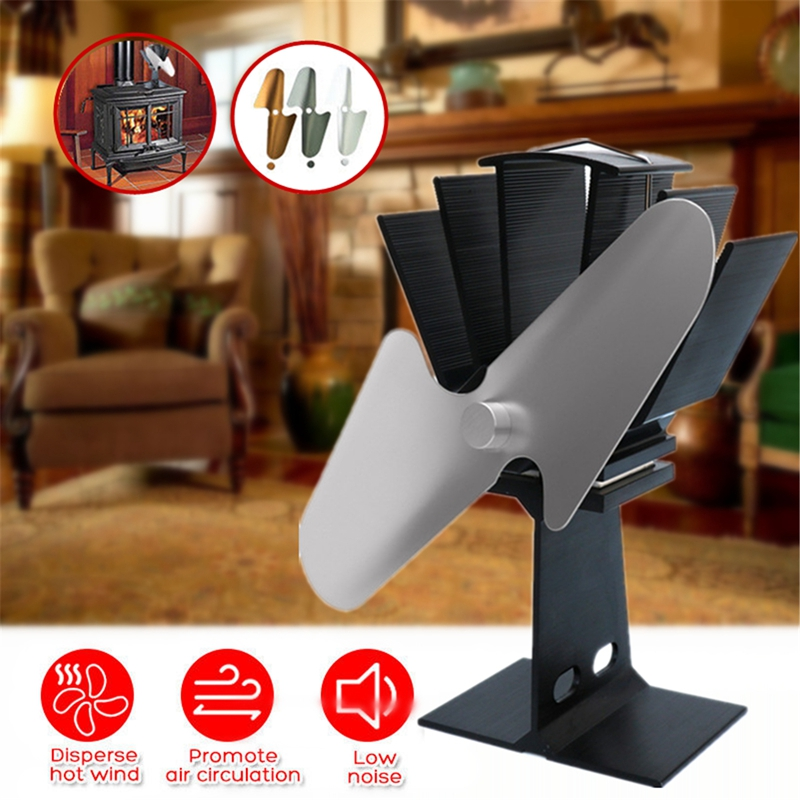 2 Blade Hot Blast Stove Fan Home Silent Hot Blast Stove Fan Ultra Quiet Wood Stove Fan Fireplace Fan Ecological Thermal Cycle