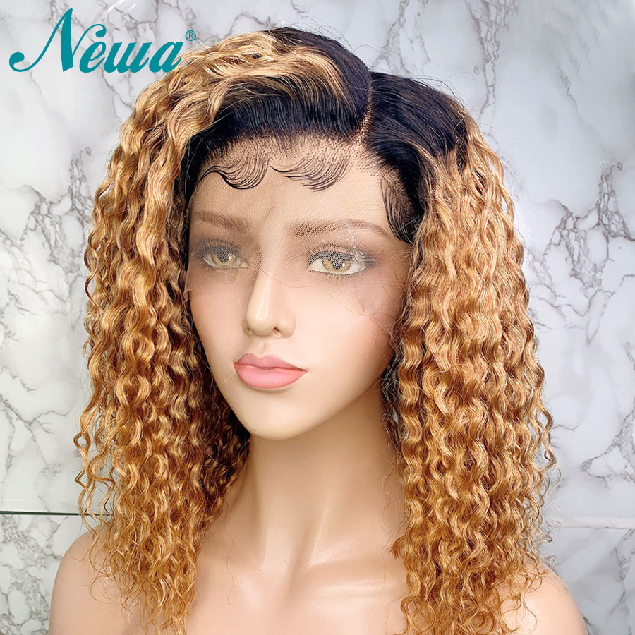 Newa Hair 13x6 Curly Lace Front Human Hair Wigs Ombre Lace Front Wig Pre Plucked With Baby Hair 130/150% Brazilian Remy Hair Wig