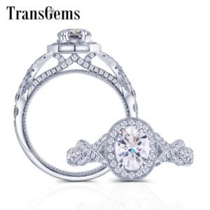 Image 1 - Transgems 14K 585 Weiß Gold Zentrum 2ct 7*9mm Oval Form F Farblos Engagement Ring für Frauen band mit Milgrain