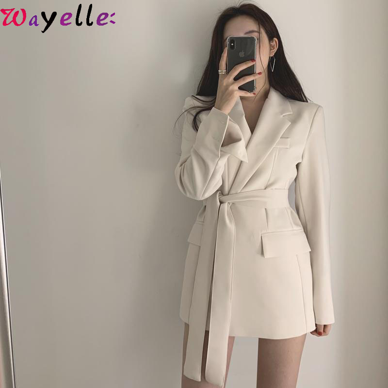 Korean Style Women Long Blazers 2019 Autumn Winter Women Elegant Jackets Blazers Office Ladies Lace Up Notched Formal Outwear
