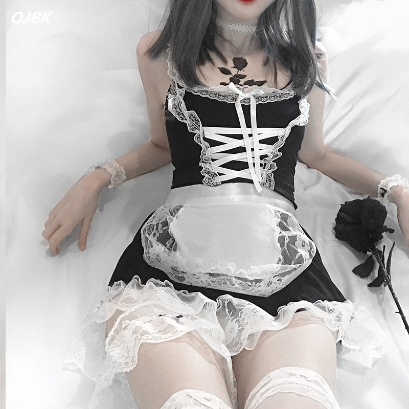 Women Sexy Lingerie Cosplay French Apron Maid Servant Lolita Hot Costume Babydoll Dress Uniform Erotic Role Play Cute Live Show