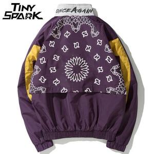 Image 2 - Vintage Harajuku Pullover Giubbotti Hip Hop Stampa Floreale 2020 Autunno Zip Giacca A Vento Giacca Patchwork Streetwear Fiori di Grandi Dimensioni