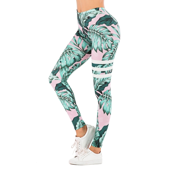 Brand Sexy Women Legging leaf Printing Fitness leggins Fashion Slim legins High Waist Leggings Woman Pants 1