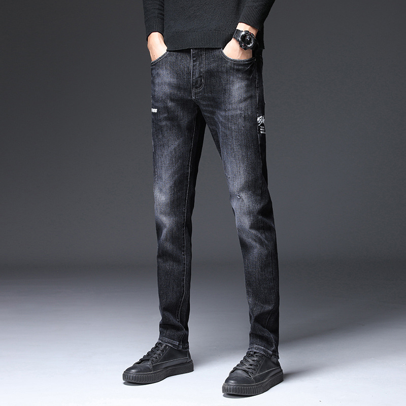 Autumn And Winter New Style Youth Trend Jeans Korean-style Slim Fit Fashion Embroidered Washing Skinny Pants 766
