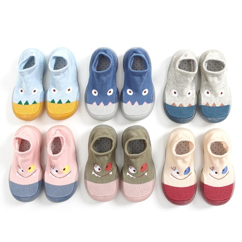 Нескользящие шлепанцы для маленьких мальчиков и девочек, дышащие хлопковые тапочки-носки, Нескользящие, для дома и улицы