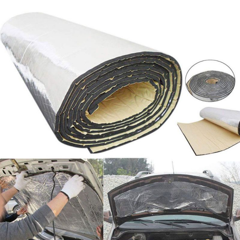 Car Hood Motor Firebreak Heat Mat Deadener Sound Insulation Material Deadening Aluminum Foil Sticker