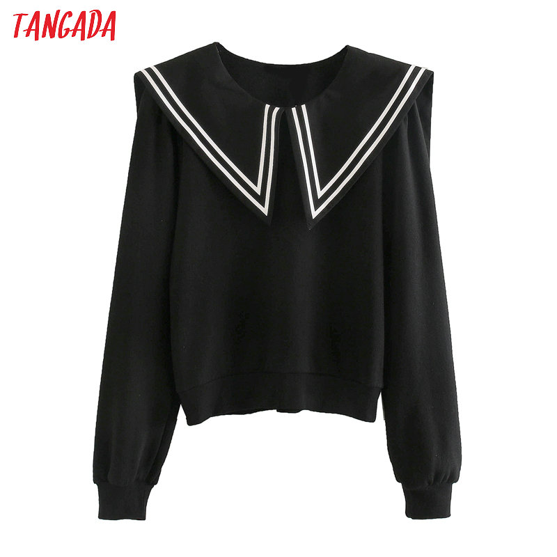 Tangada 2020 Vintage Black Strethy Shirts Long Sleeve Sweet Blouse Korean Style Ladies Tops Blusa 3L18