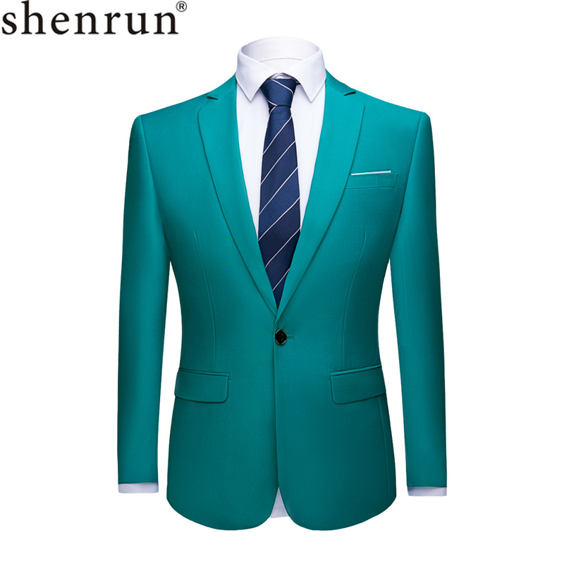 Shenrun Men Suit Jacket Blazers Business Jackets Formal Office Casual Slim Fit Black Green Purple Pink Yellow Wedding Party Prom