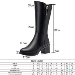Image 2 - AIYUQI 신발 여성 발 뒤꿈치 부츠 2020 새로운 정품 가죽 겨울 부츠 여성 양모 Wram 큰 크기 42 43 긴 부츠 여성 구매