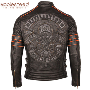 Black Embroidery Skull Motorcycle Leather Jackets 100% Natural Cowhide Moto Jacket Biker Leather Coat Winter Warm Clothing M219 1