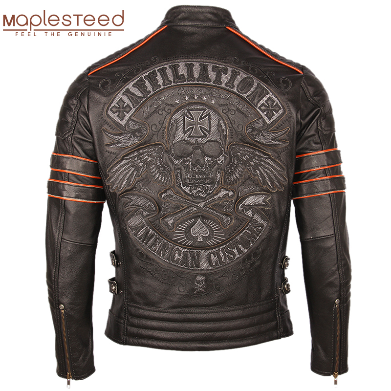 Black Embroidery Skull Motorcycle Leather Jackets 100% Natural Cowhide Moto Jacket Biker Leather Coat Winter Warm Clothing M219Genuine Leather Coats   -