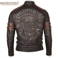Schwarz Stickerei Schädel Motorrad Leder Jacken 100% Natürliche Rindsleder Moto Jacke Biker Leder Mantel Winter Warme Kleidung M219