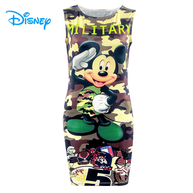 Disney Mickey Minnie Mouse Dress Women <font><b>Girls</b></font> Summer <font><b>Sexy</b></font> Bodycon O-Neck Sleeveless Camouflage Camo Slim Mini Pencil Dresses image