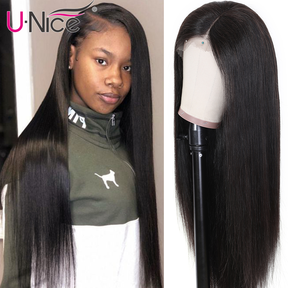 Unice Hair 13x4/6 Transparent Lace Frontal Wig With Baby Hair PrePlucked Brazilian Straight Invisible Lace Front Human Hair Wigs