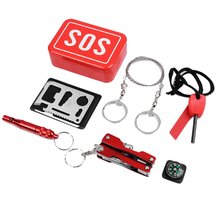 First Aid Emergency Box Metal+Plastic Survival Supplies Outdoor Self-Rescue Equipment Camping Multifunctional Tool 1 Set