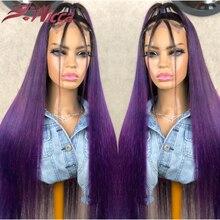 Парик 1B из натуральных волос фиолетового цвета 13X4 на сетке спереди, плотность 180, 30 дюймов, волнистые волосы без клея, Детские волосы