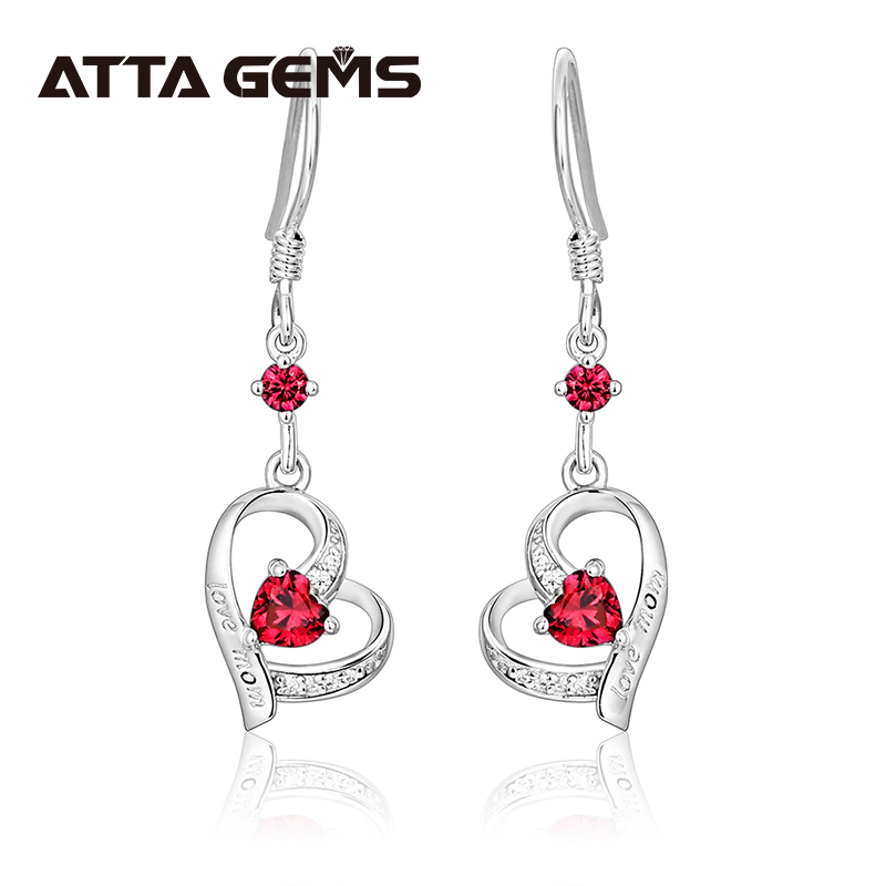 Ruby Sterling Silver Drop Earring for Mother's Gift S925 Earring Heart Design Created Ruby Romantic Elegant Style Fine Jewelry