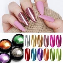 1 г маникюрный зеркальный блестящий порошок Набор для ногтей металлический цвет УФ гель для дизайна ногтей Полировка хромированные хлопья пигментные пылезащитные украшения