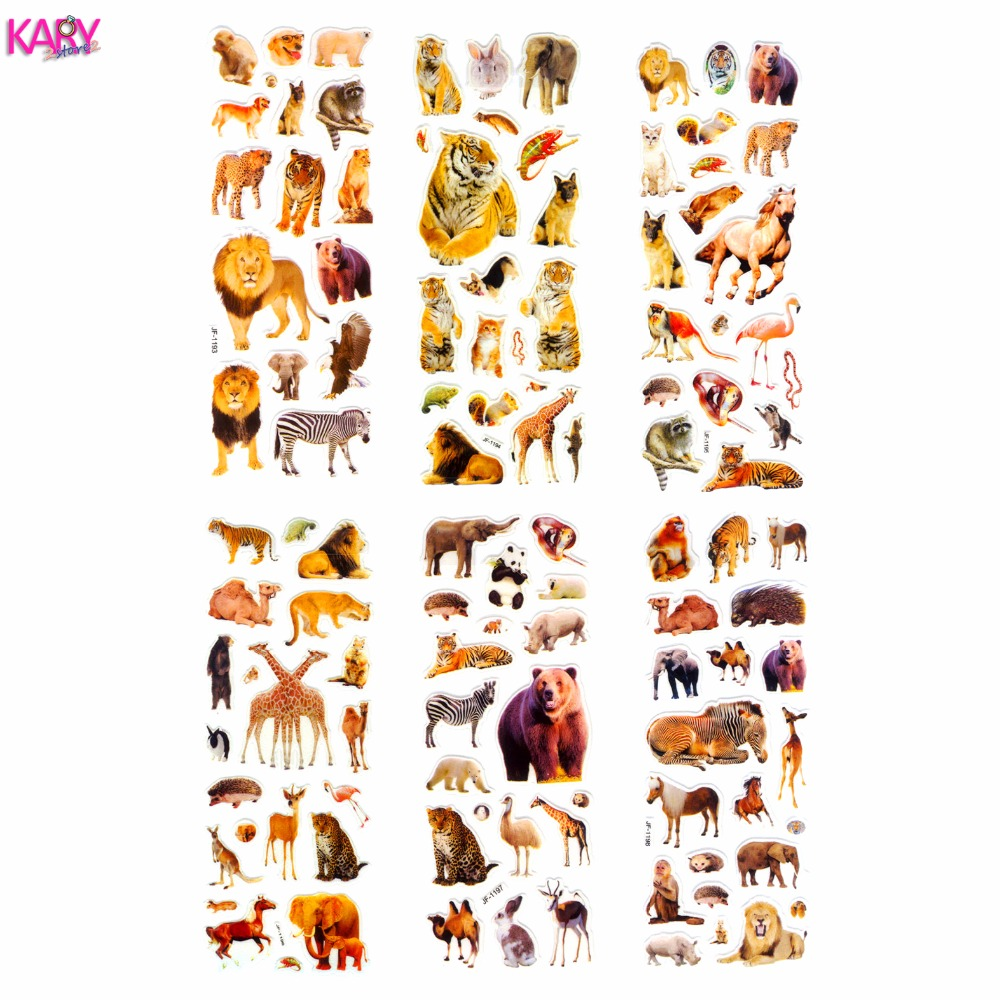 6 Sheets Wildlife Wild Safari Park Animals Scrapbooking Bubble Puffy Stickers Kawaii Toys Reward Kids Factory Direct Sales