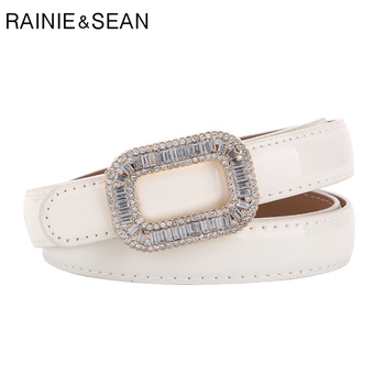 RAINIE SEAN White Patent Leather Women Belt Rhinestone Buckle Waist Thin Ladies Belts for Dress Fashion Brand Accessories